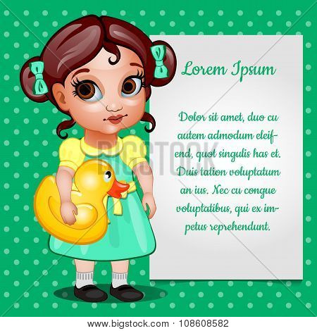 Girl in green dress and card for your text