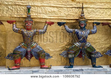 Warrior Guardians In The Temple Of The Emerald Buddha  Complex