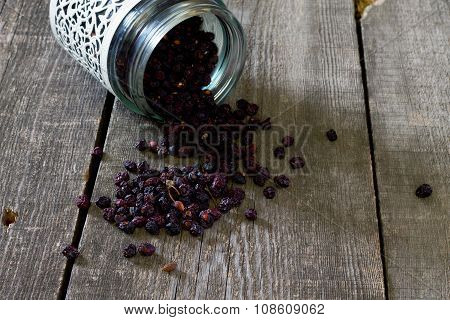 Dried Fruits: Dried Cherries On A Dark Wooden Background.