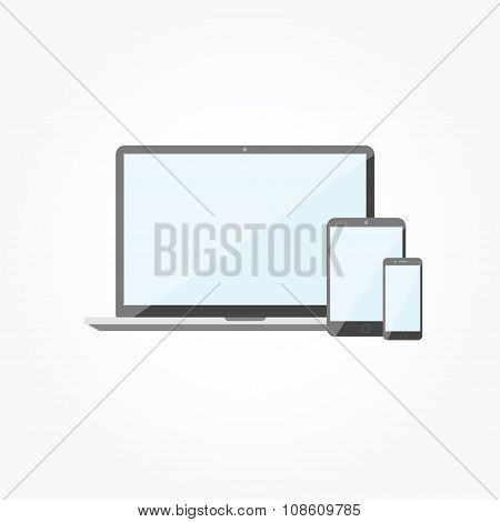 Electronic Devices With Blank Screens. Laptop, Smartphone. Flat Design Vector Illustration