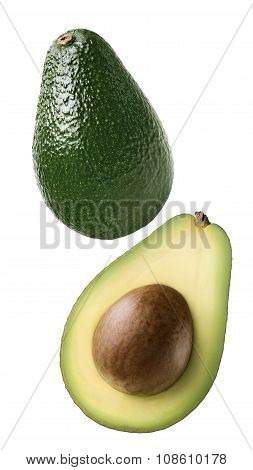 Double Avocado Vertical Cut Combo Isolated On White