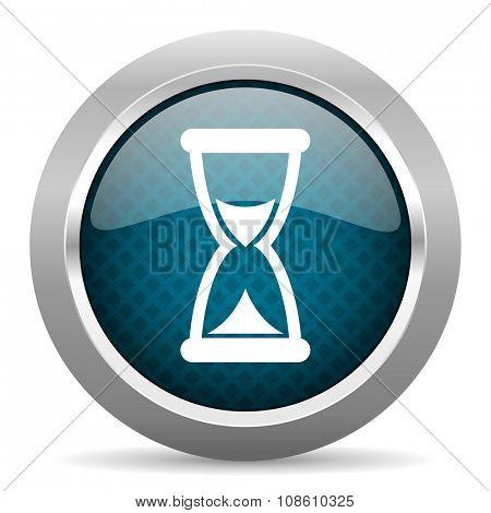 time blue silver chrome border icon on white background
