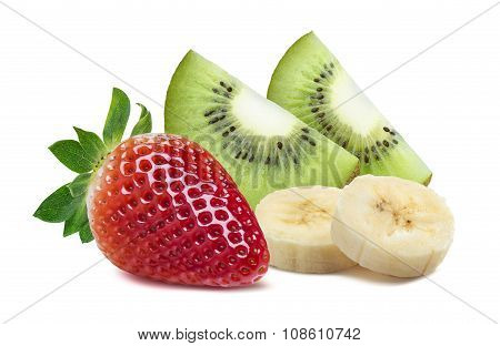 Strawberry Kiwi Quarter Piece Banana 3 Isolated On White Background