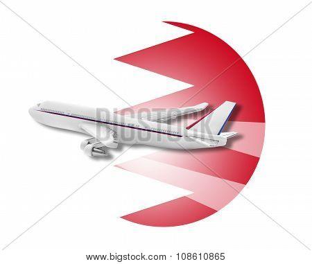 Plane and Bahrain flag.