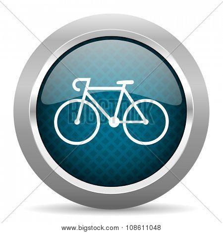 bicycle blue silver chrome border icon on white background
