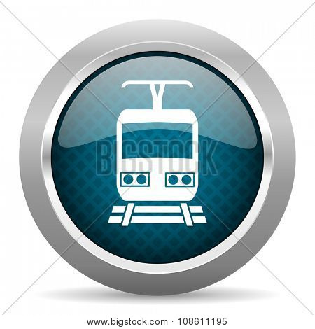 train blue silver chrome border icon on white background