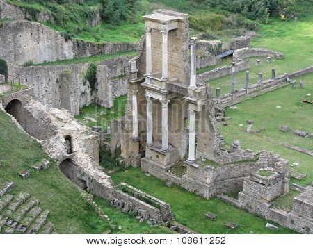 Ruins Of A Antique Roman Amphitheater In Volterra, Province Of Pisa, Tuscany, Italy