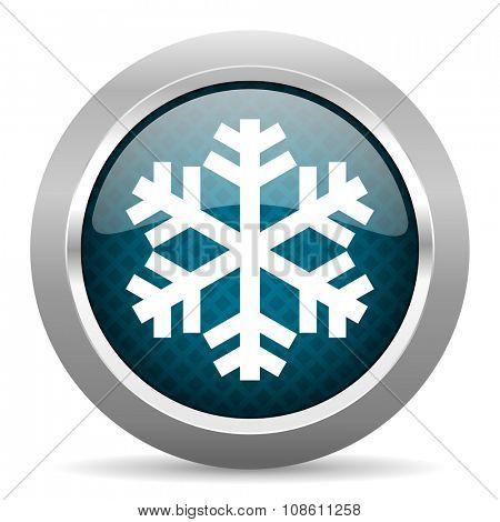 snow blue silver chrome border icon on white background