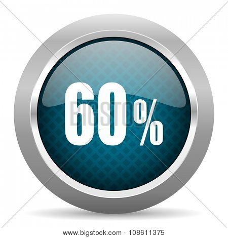 60 percent blue silver chrome border icon on white background