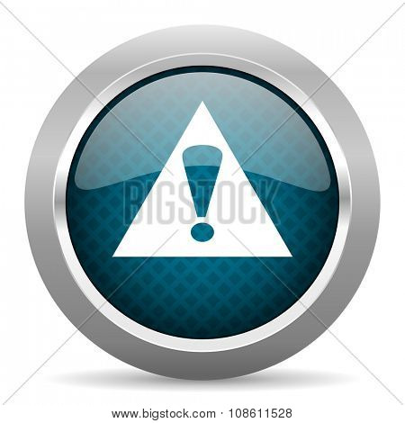 exclamation sign blue silver chrome border icon on white background