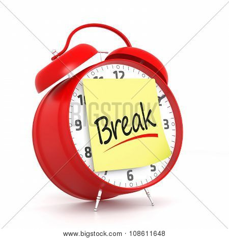 Red Alarm Clock With Break Yellow Sticky. 3D Rendering