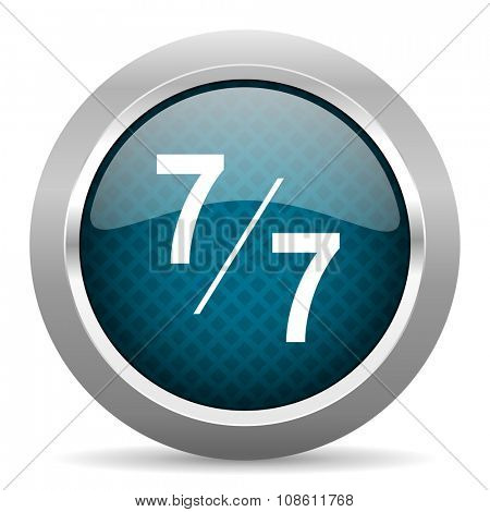 7 per 7 blue silver chrome border icon on white background