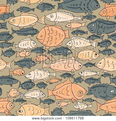 hand drawn fish seamless pattern. sea life vector illustration