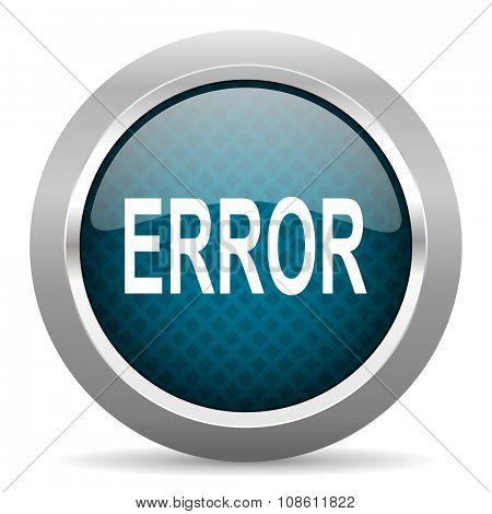 error blue silver chrome border icon on white background