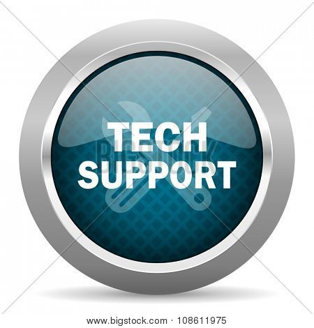 technical support blue silver chrome border icon on white background