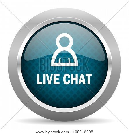 live chat blue silver chrome border icon on white background