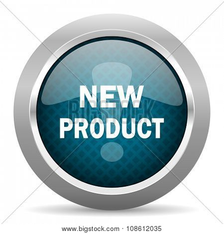 new product blue silver chrome border icon on white background