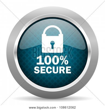 secure blue silver chrome border icon on white background