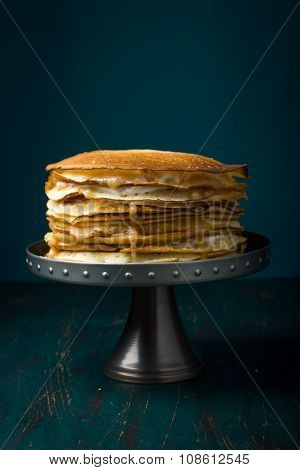 Crepe Cake With Custard Cream And Caramel