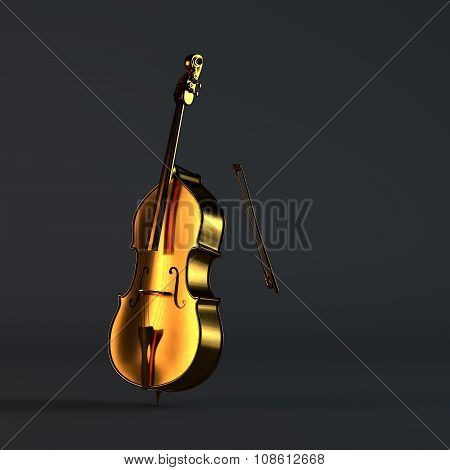 Golden cello on black