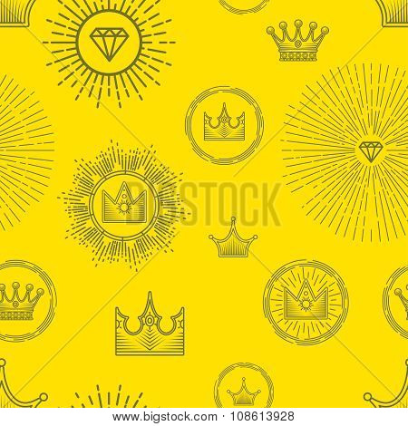 Seamless pattern with different stylized crowns and precious stones on yellow background.
