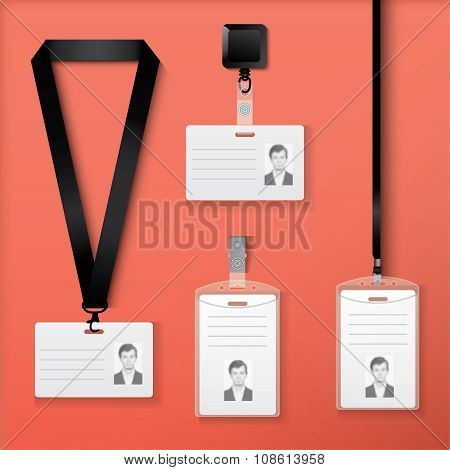 Collection of id cards with lanyard, retractor and clasp.