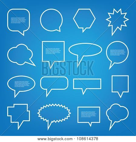 Collection of Blank Empty Speech And Thought Bubble Vector Designs With Sample Text
