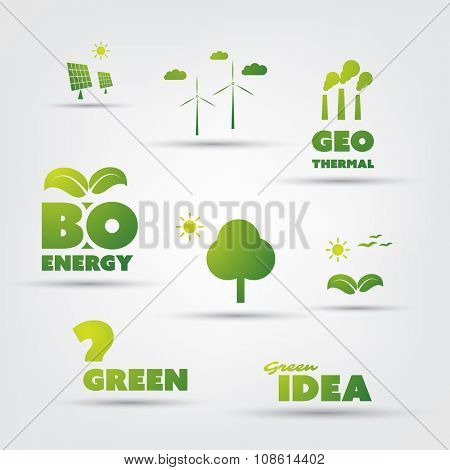 Eco Icon Set With Text