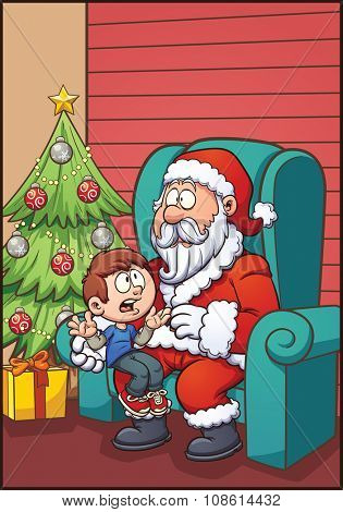 Santa Claus sitting with kid. Vector clip art illustration with simple gradients. Most elements on separate layers for easy editing.