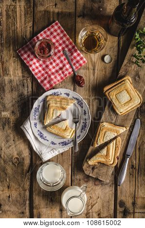 Old Bohemian Toast With Jam And Beer