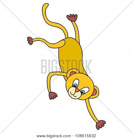 Funny Monkey. Cartoon And Vector Isolated Character