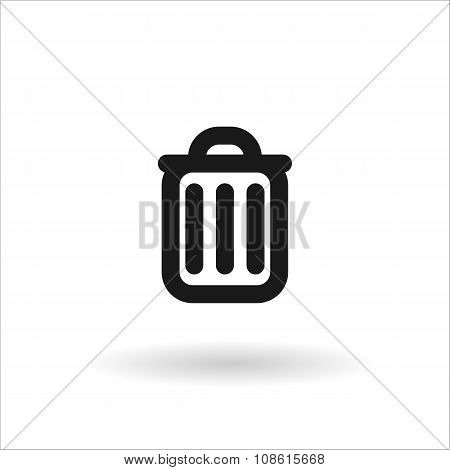 Black Trash Can Line Vector Icon