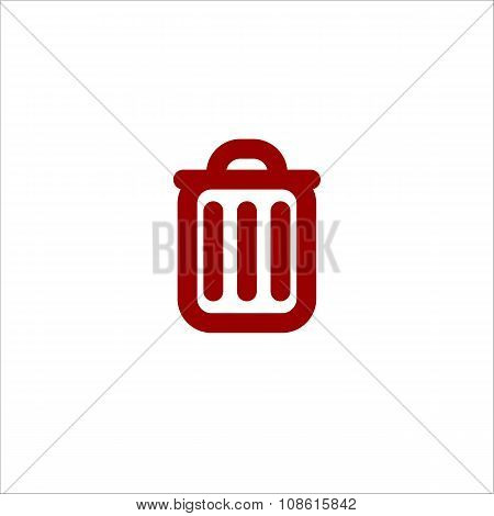 Colored Trash Can Line Vector Icon