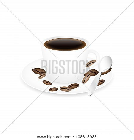 Red coffee cup spoon and coffee beans isolated on a white background.
