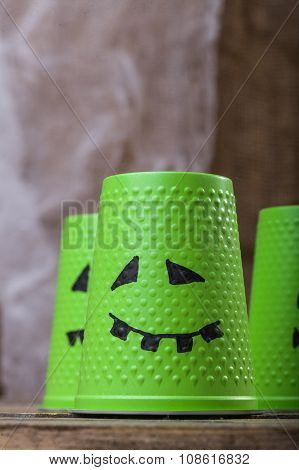Green Cups With Ghost Faces
