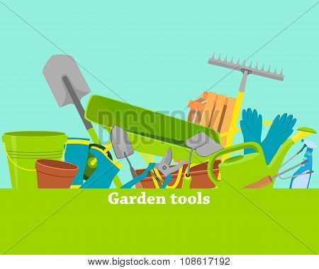 Poster garden tools with space for text. Vector illustration