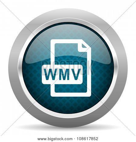 wmv file blue silver chrome border icon on white background