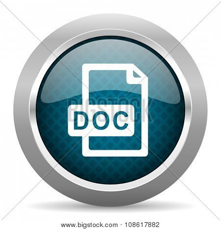 doc file blue silver chrome border icon on white background