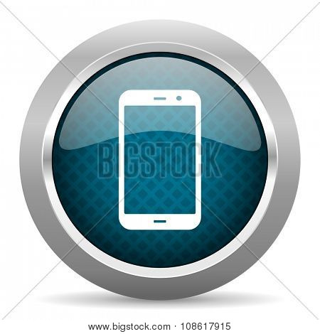 smartphone blue silver chrome border icon on white background