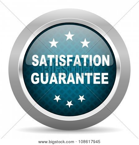 satisfaction guarantee blue silver chrome border icon on white background