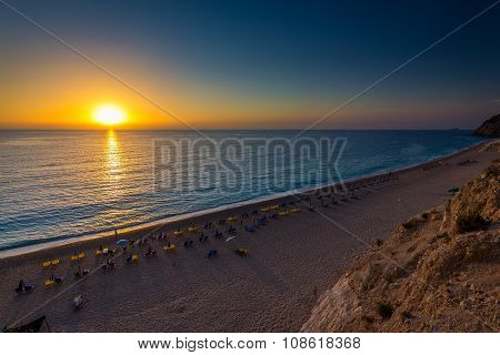 Egremni beach Lefkada at sunset