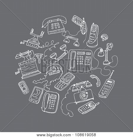 set of hand drawn doodle telephones. vector illustration