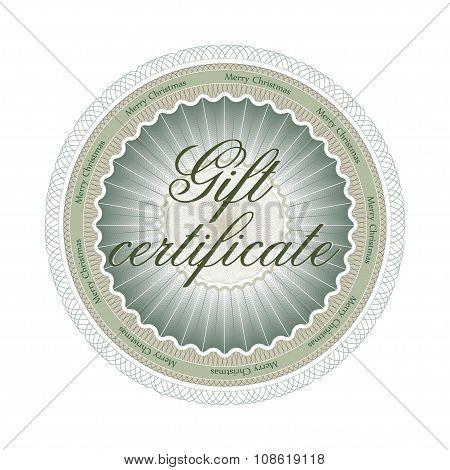 Guilloche rosette, gift certificate for Christmas.