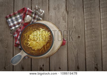 French Onion Soup With Cheddar Cheese And Bread