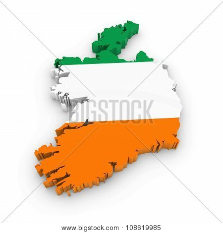 3D Outline Of Ireland Textured With The Irish Flag