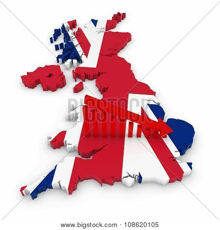 British Economic Decline Concept Image - Downward Sloping Graph On 3D Outline Of The United Kingdom