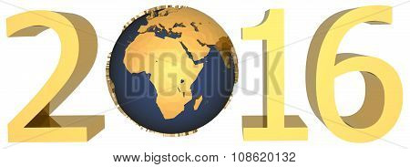 Gold Figures Of The New Year 2016 Plus The Earth
