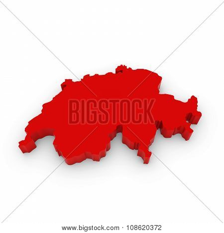 Red 3D Outline Of Switzerland Isolated On White