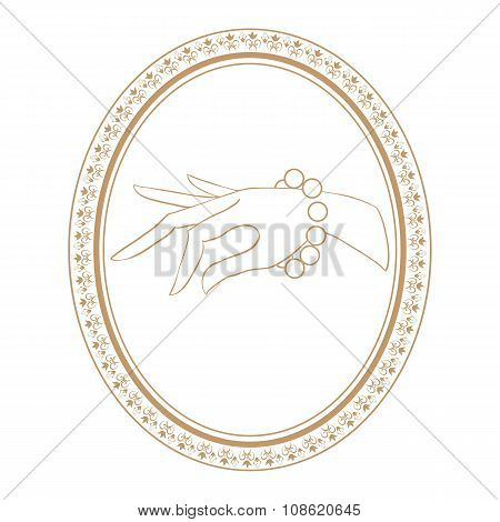 jewelry vintage label with bracelet. isolated vector illustration