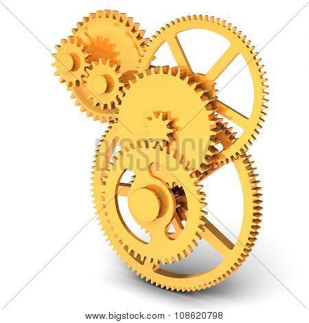 3D Detailed Golden  Metallic Gears